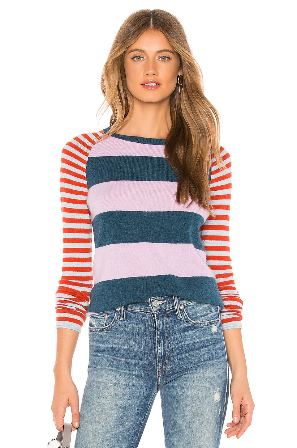 REPLICA LOS ANGELES Mix Stripe Sweater in Purple