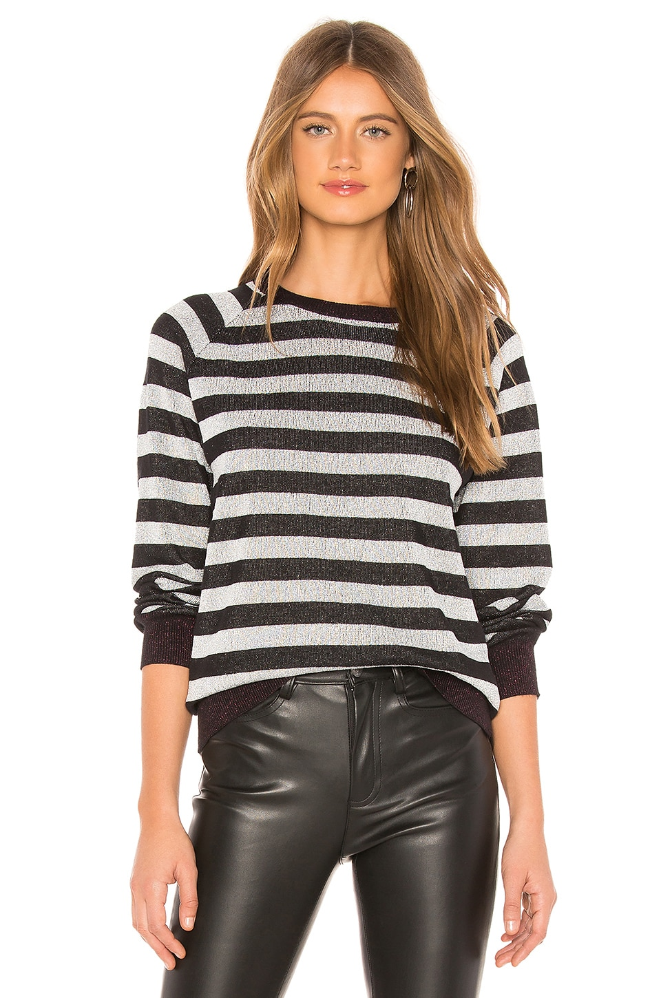 REPLICA LOS ANGELES Shiny Stripe Sweater in Black