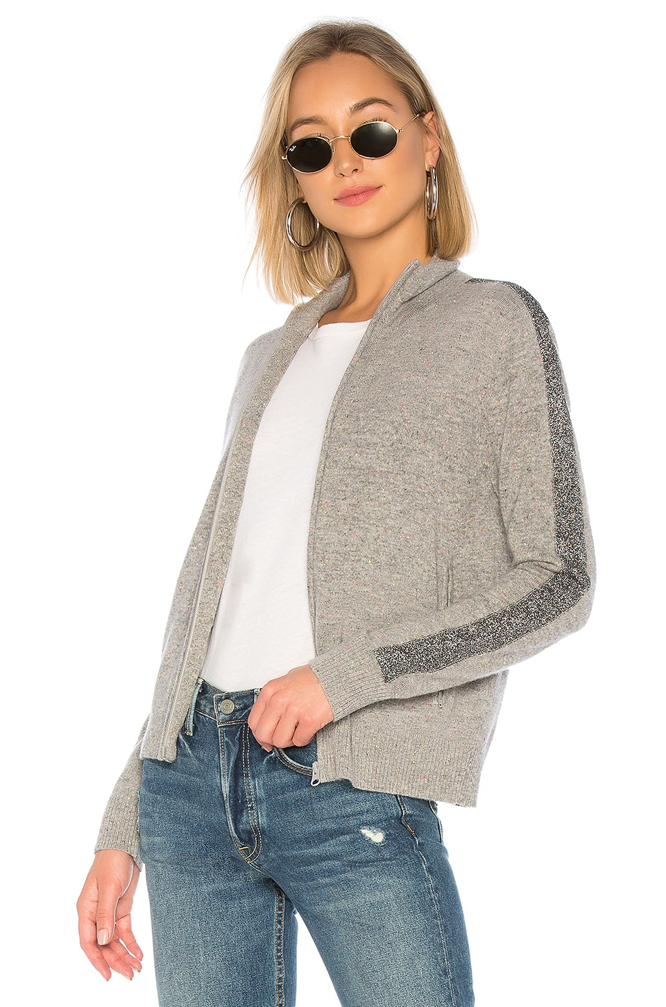 REPLICA LOS ANGELES Lurex Stripe Track Jacket in Gray