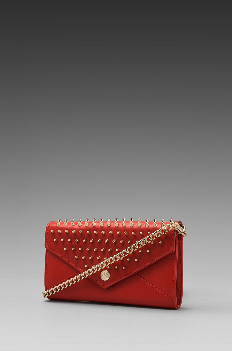 Rebecca Minkoff Chain Wallet with Studs in Fire Engine