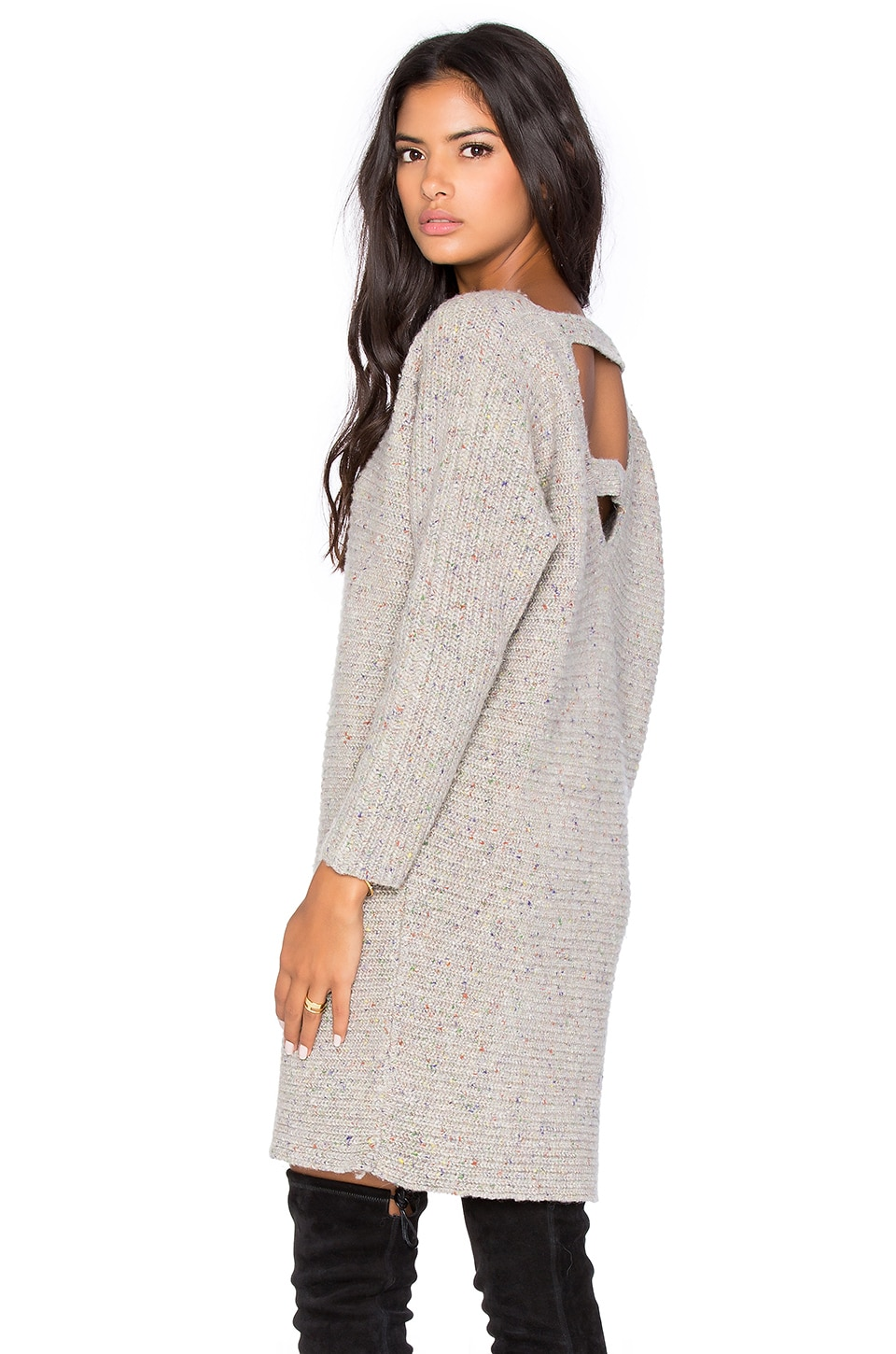Rebecca Minkoff Bass Open Back Sweater Dress in Cream
