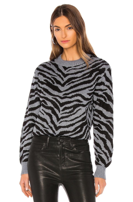 Rebecca Minkoff Jax Zebra Intarsia Pullover in Grey
