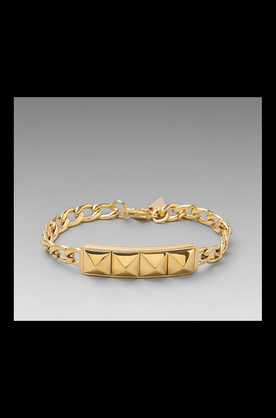Rebecca Minkoff Studded ID Plate Bracelet in Gold