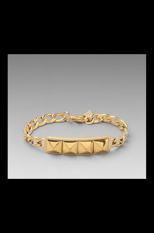 Rebecca Minkoff Studded ID Plate Bracelet in Gold