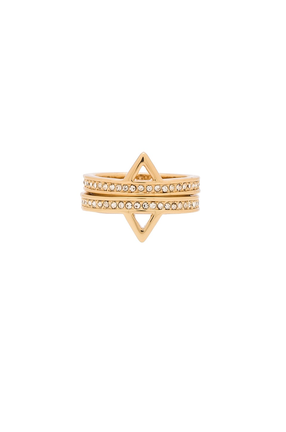 Rebecca Minkoff Triangle Stack Ring in 12kt Crystal