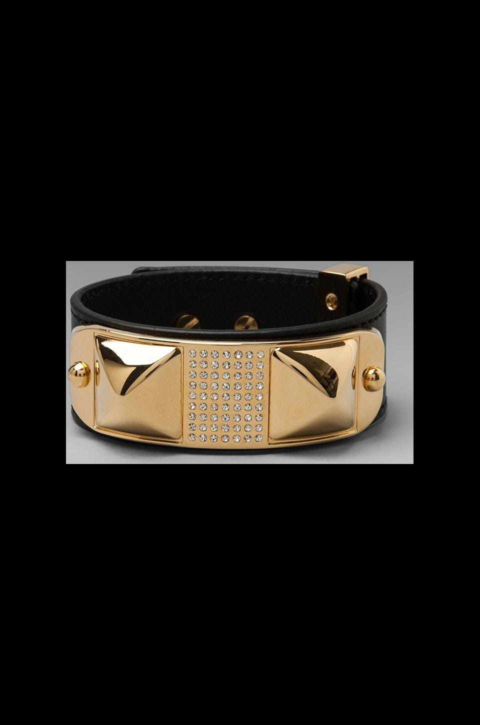 Rebecca Minkoff Small Studded Pave Leather Bracelet in Black/Gold