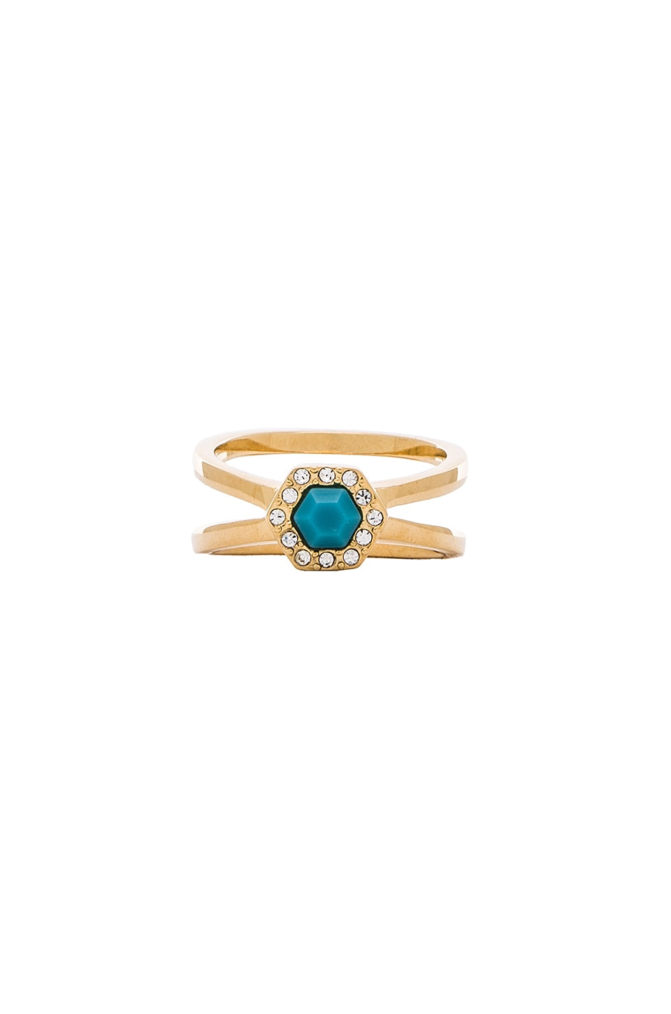 Rebecca Minkoff Pave Gem Ring in Gold & Turquoise