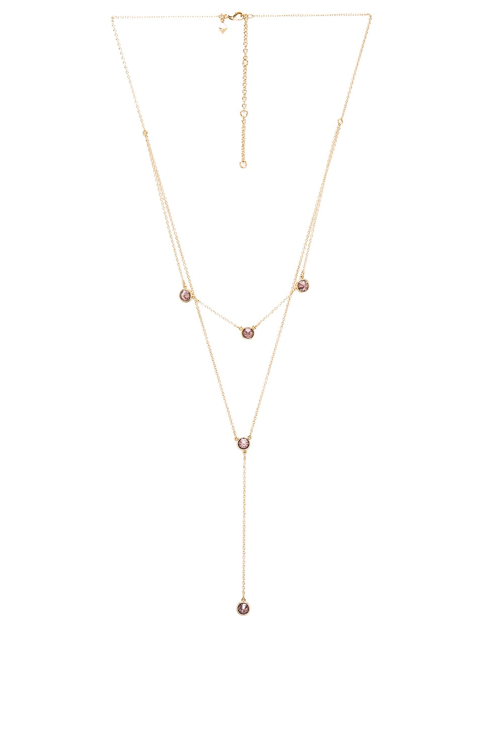 Rebecca Minkoff Gem Stone Two Row Lariat Necklace in Gold & Purple