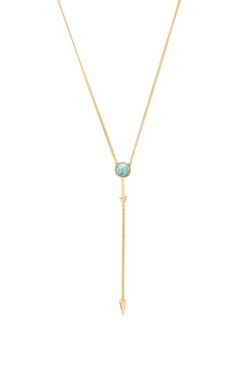 Rebecca Minkoff Boho Bead Lariat Necklace in Gold & Turquoise