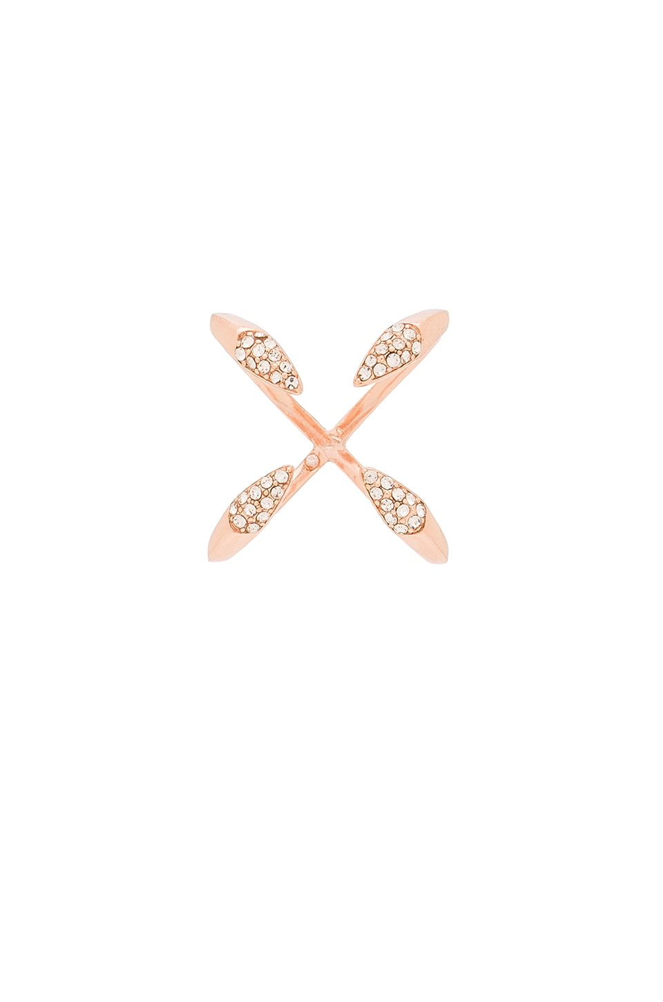 Rebecca Minkoff Pave Claw Ring in Rose Gold & Crystal