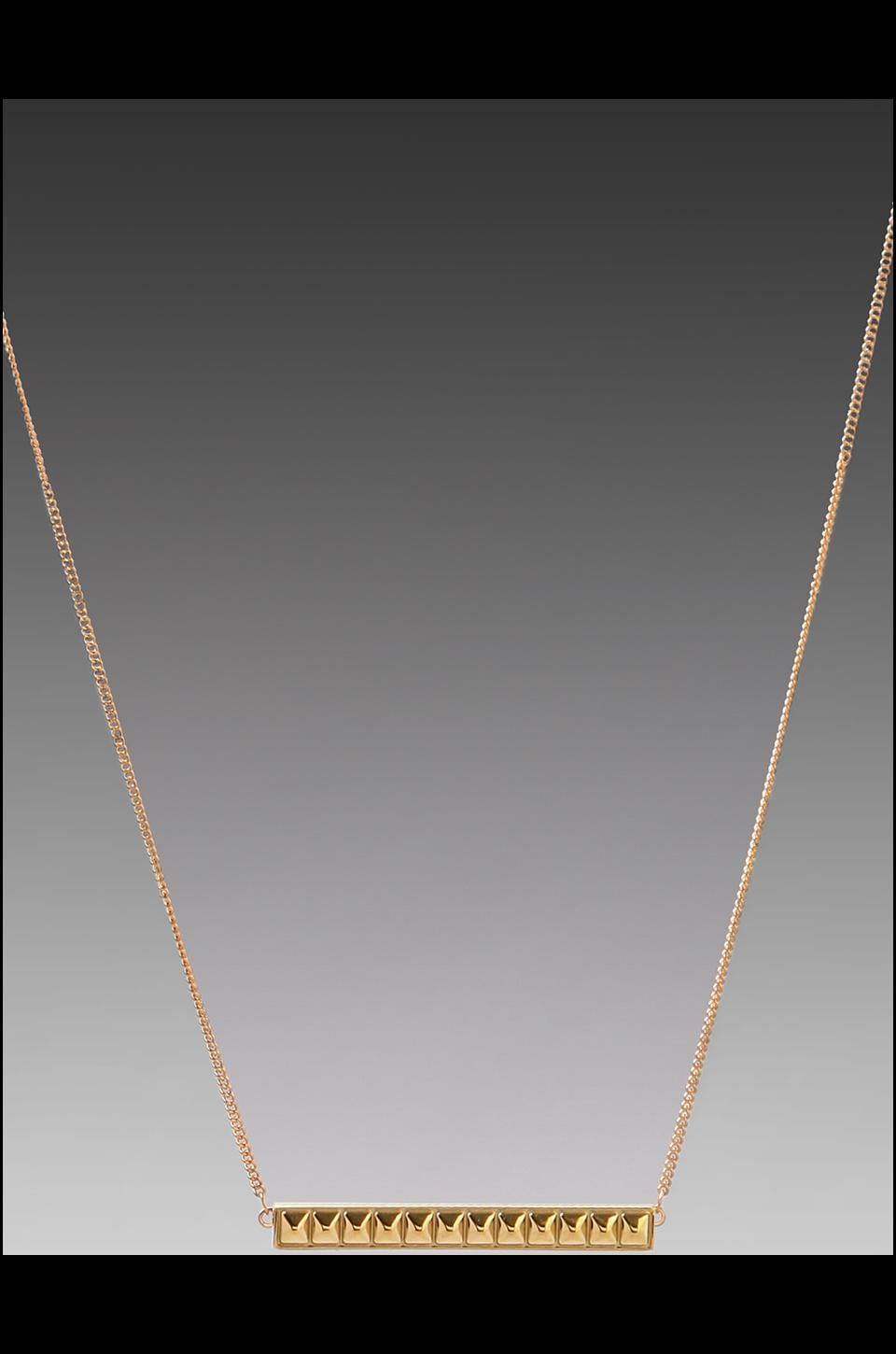 Rebecca Minkoff Studded Id Plate Necklace in Gold