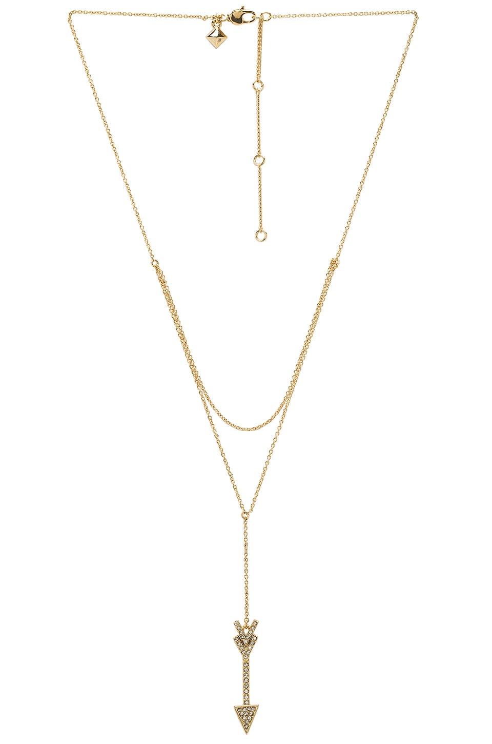 Rebecca Minkoff Arrow Layered Y Necklace in Gold & Crystal