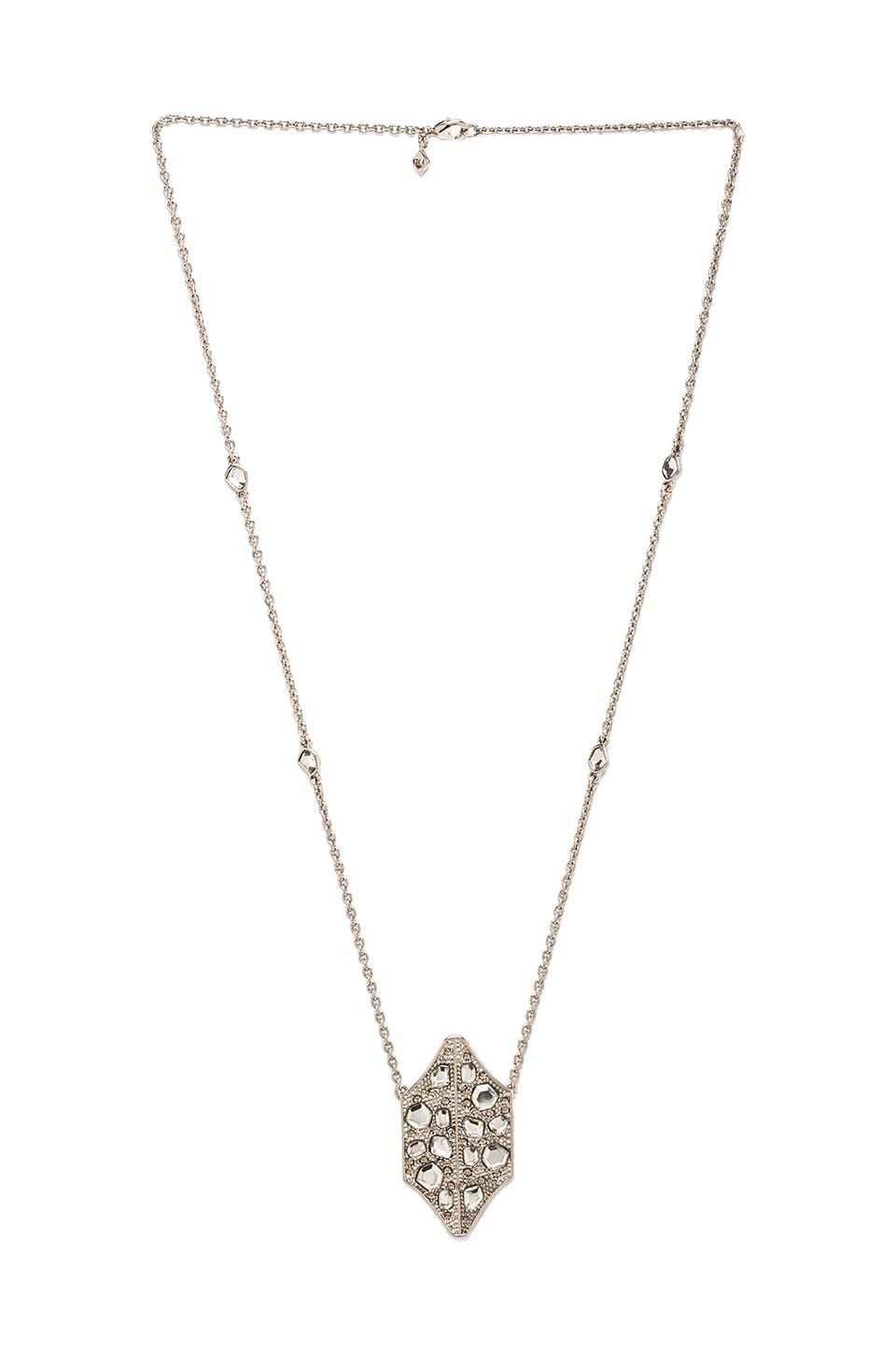 Rebecca Minkoff Mirrored Stone Necklace in Rhodium