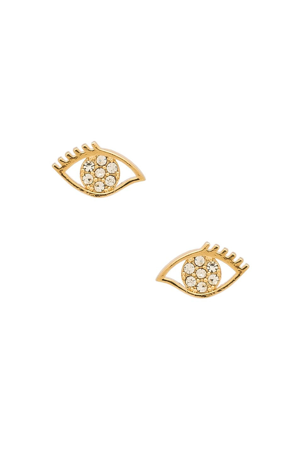 Rebecca Minkoff Evil Eye Stud Earrings in Gold & Crystal