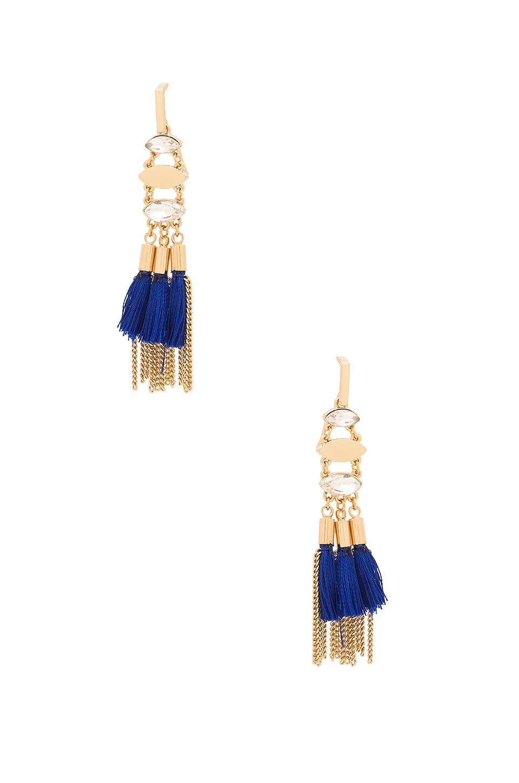 Rebecca Minkoff Tassel And Fringe Chandelier Earring in Gold & Blue