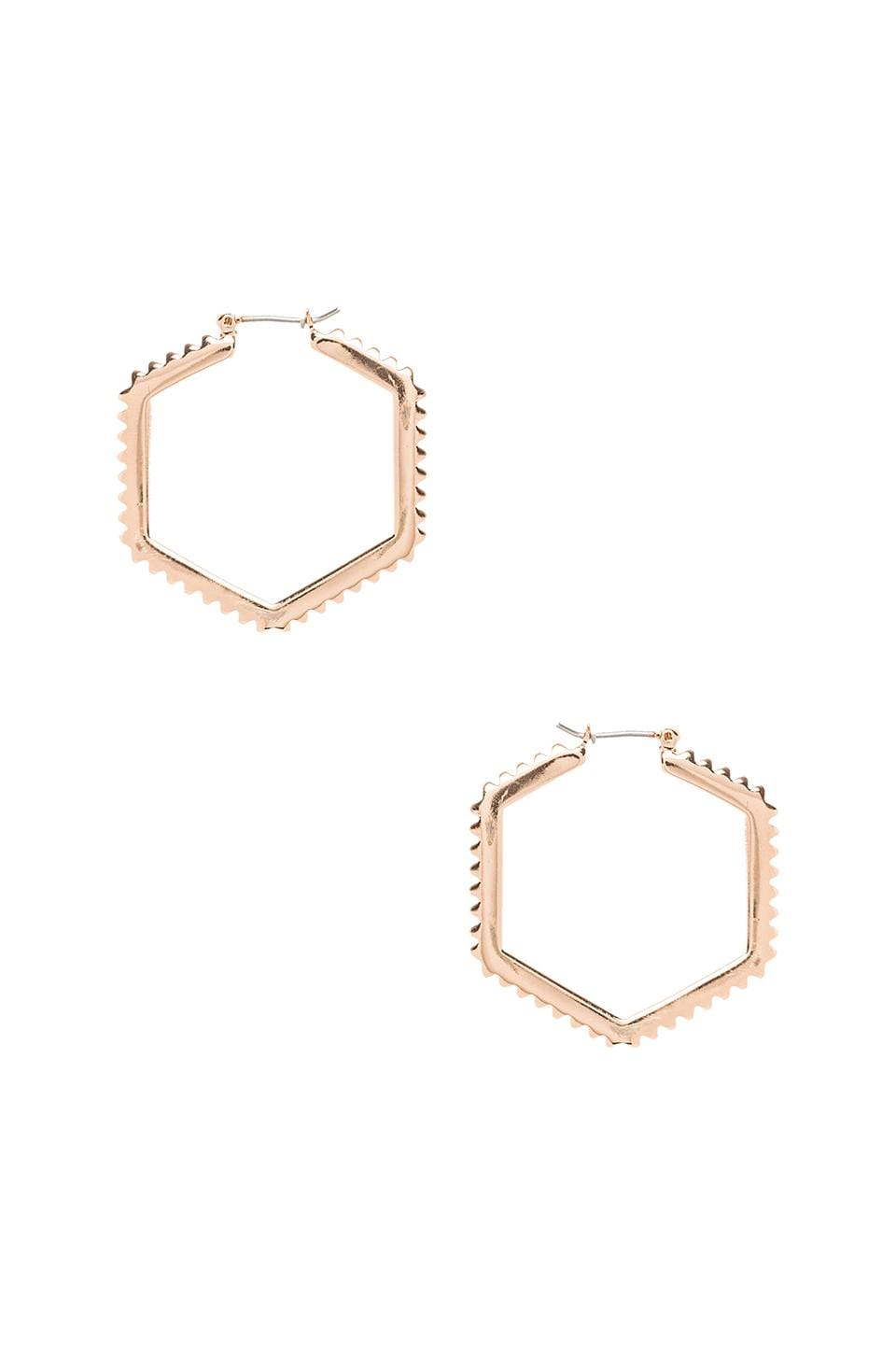 Rebecca Minkoff Studded Hex Hoop in Rose Gold