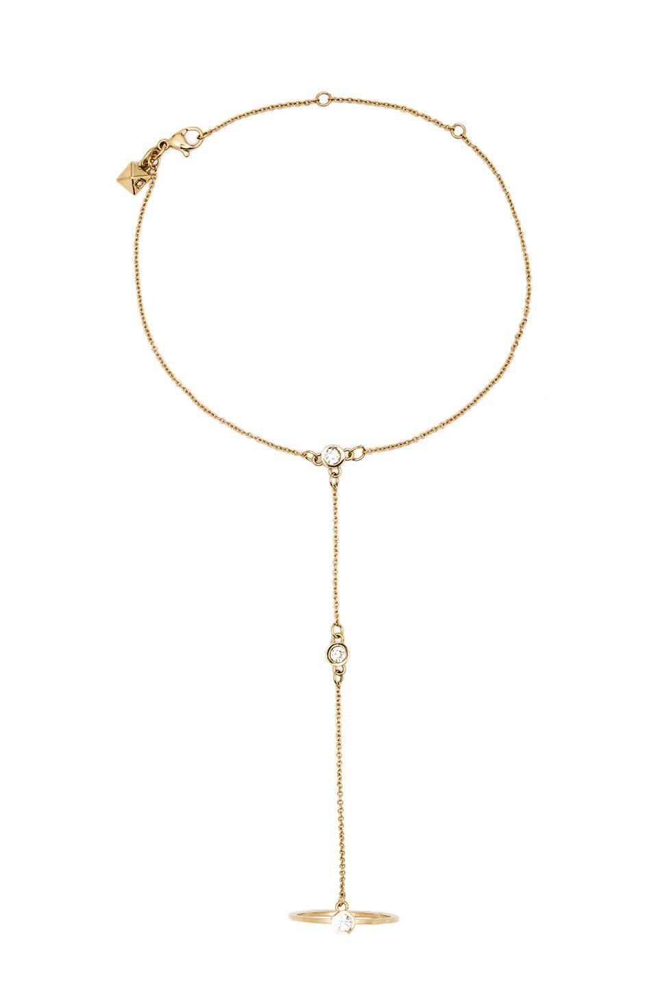 Rebecca Minkoff Crystal Stone Handchain in 14 KT Gold Plate