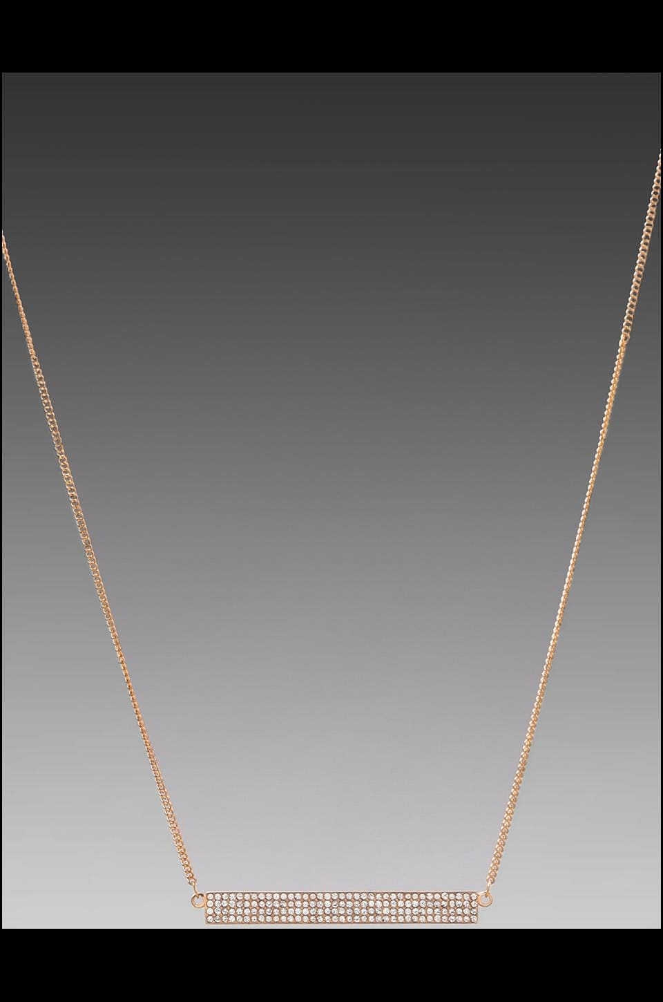 Rebecca Minkoff Pave Id Plate Necklace in Rose Gold
