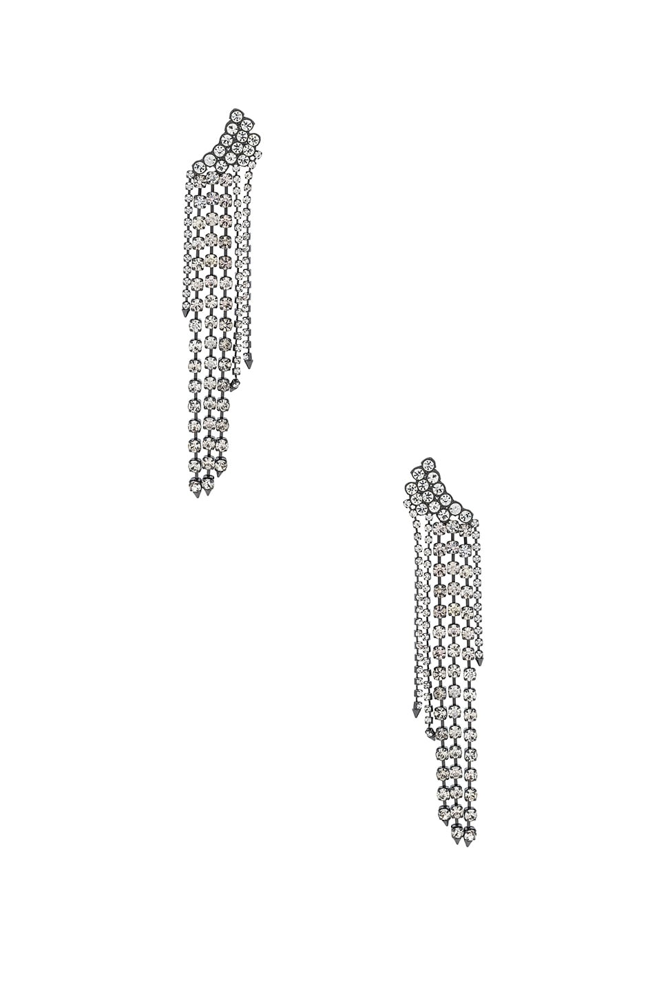 Rebecca Minkoff Gemma Winged Crystal Fringe Earrings in Crystal