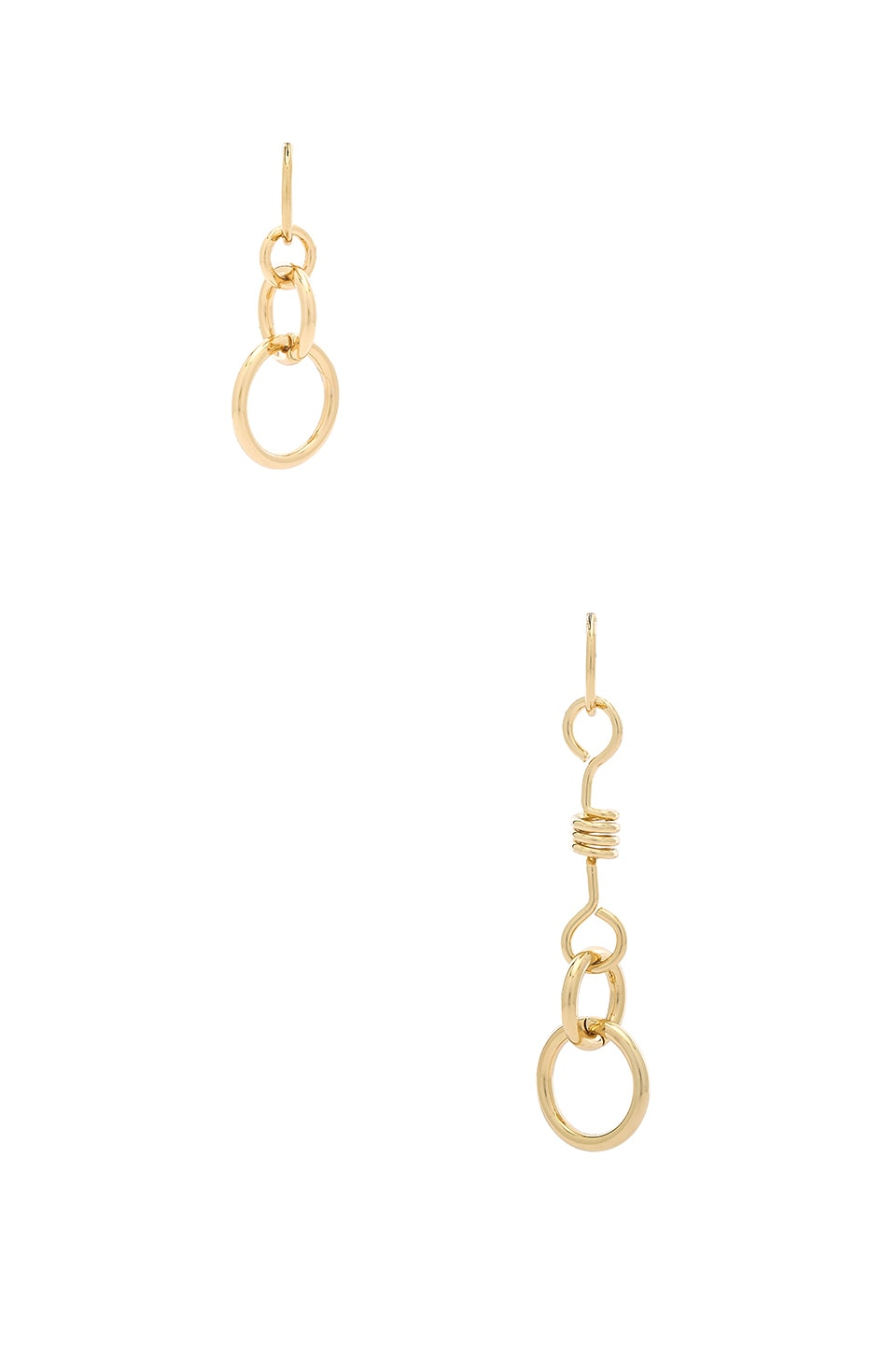 Rebecca Minkoff Mismatched Twisted Links Earrings in Gold