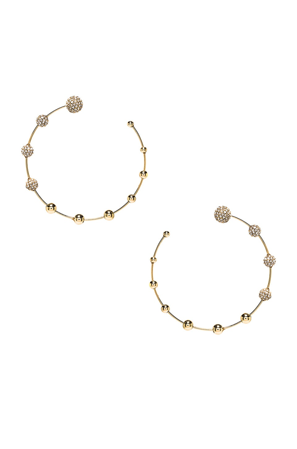 Rebecca Minkoff Pave Floating Ball Hoops in Gold