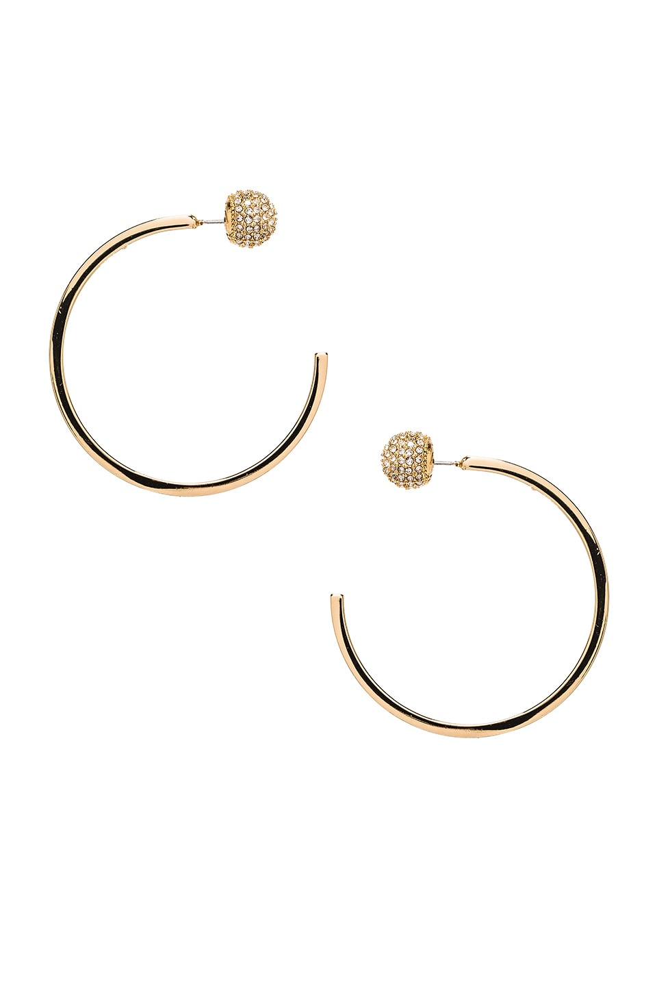 Rebecca Minkoff Pave Ball Topped C Hoops in Gold