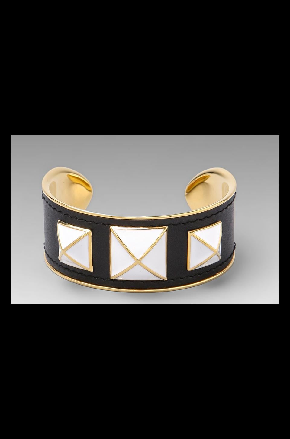 Rebecca Minkoff Small Enamel Stud Bracelet in Gold/Black