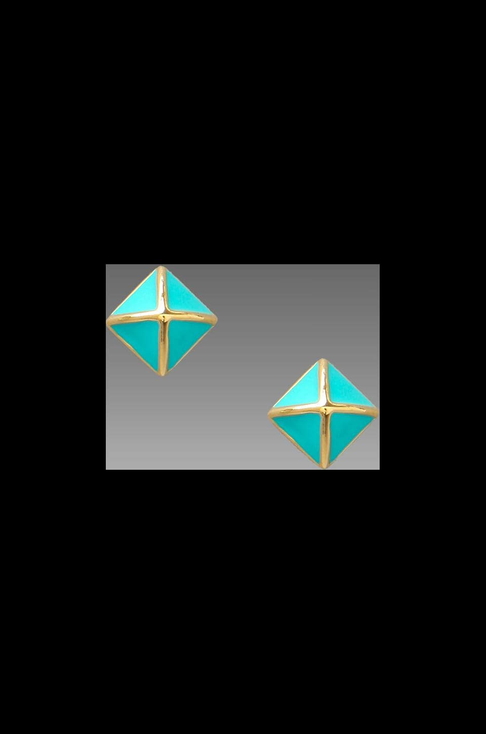 Rebecca Minkoff Small Enamel Stud Earring in Gold/Turquoise