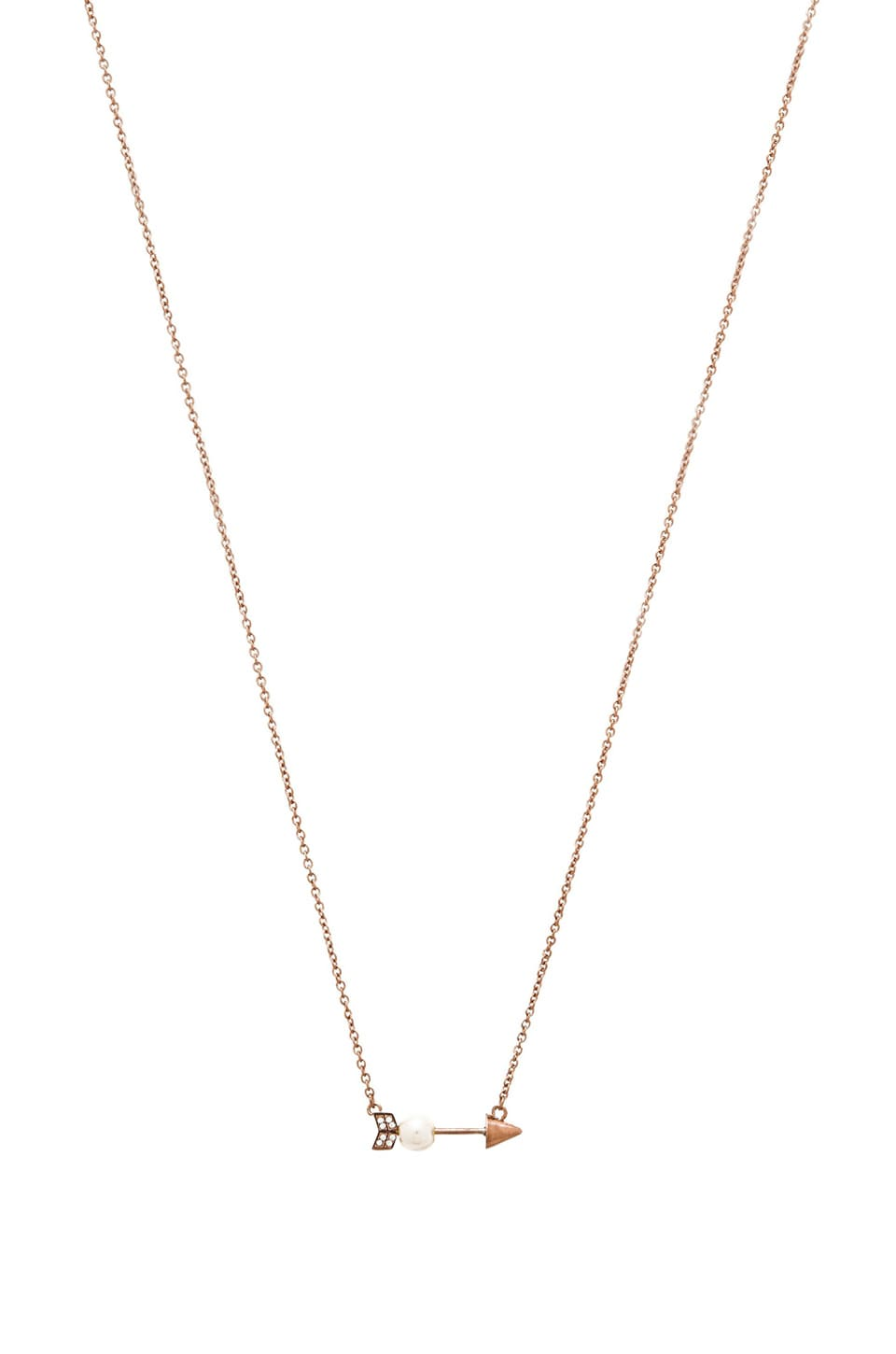 Rebecca Minkoff Pearled Arrow Necklace in Rose Gold & Pearl