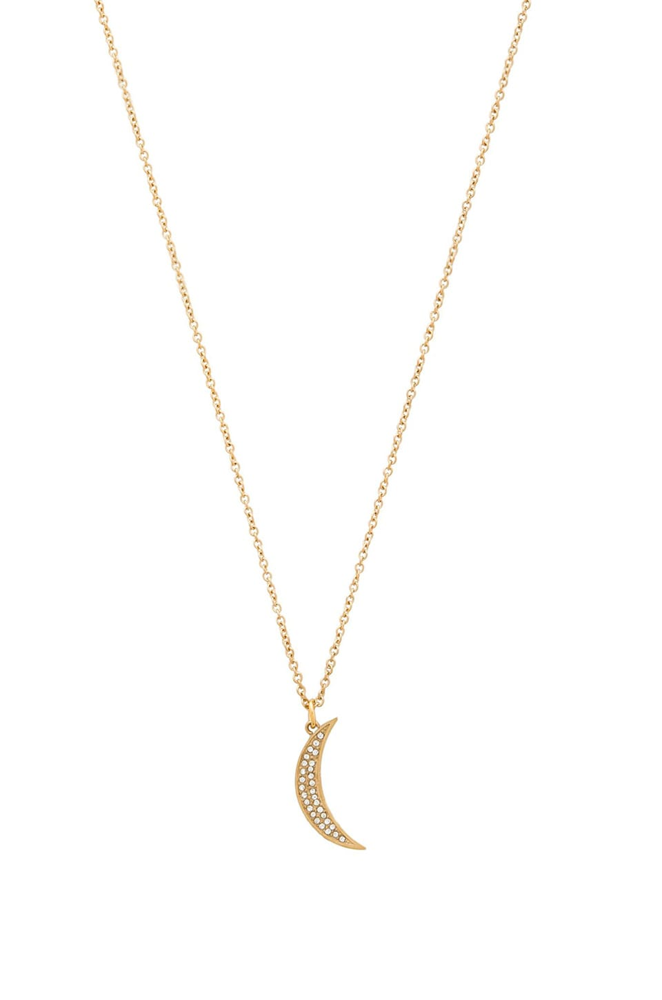Rebecca Minkoff Crystal Half Moon Necklace in Gold & Crystal