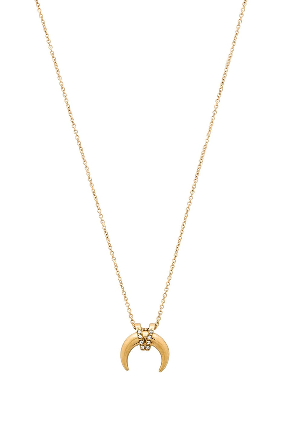 Rebecca Minkoff Crystal Horn Necklace in Gold