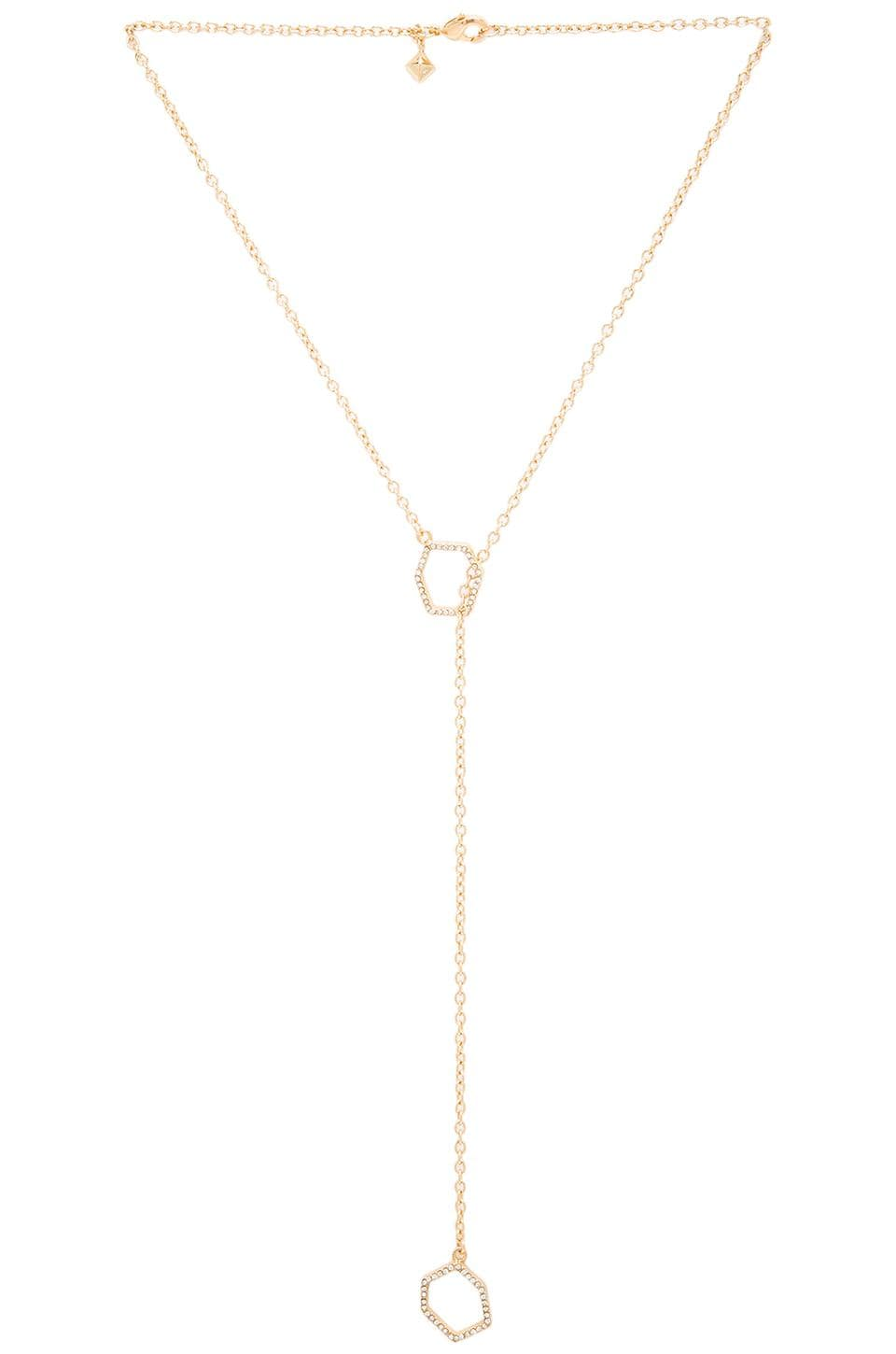 Rebecca Minkoff Lariat Necklace in Gold & Crystal