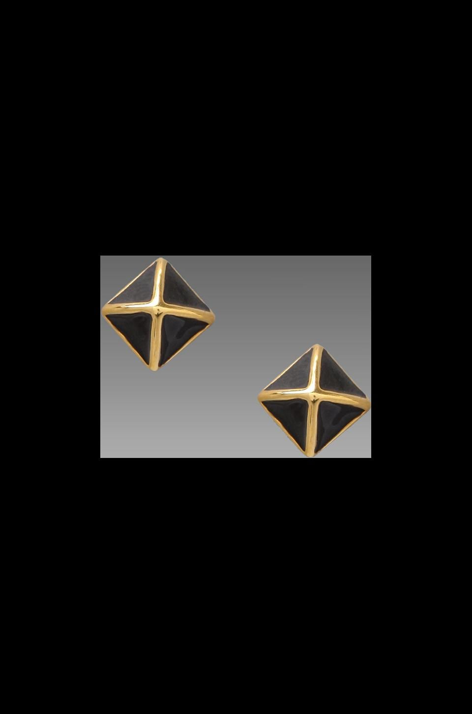 Rebecca Minkoff Small Enamel Stud Earring in Gold/Black