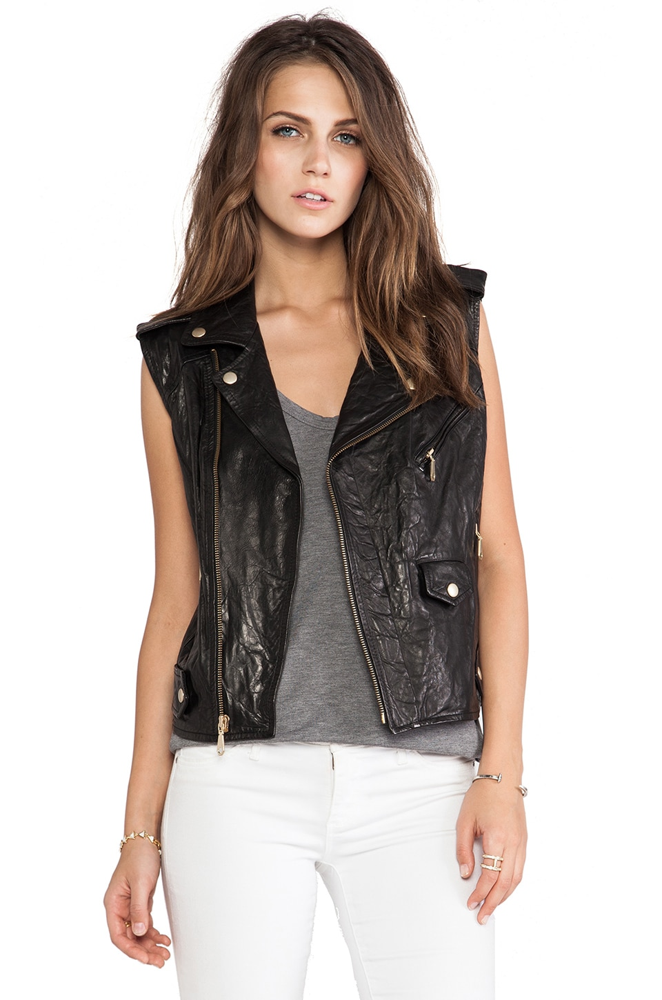 Rebecca Minkoff Leandra Leather Vest in Black