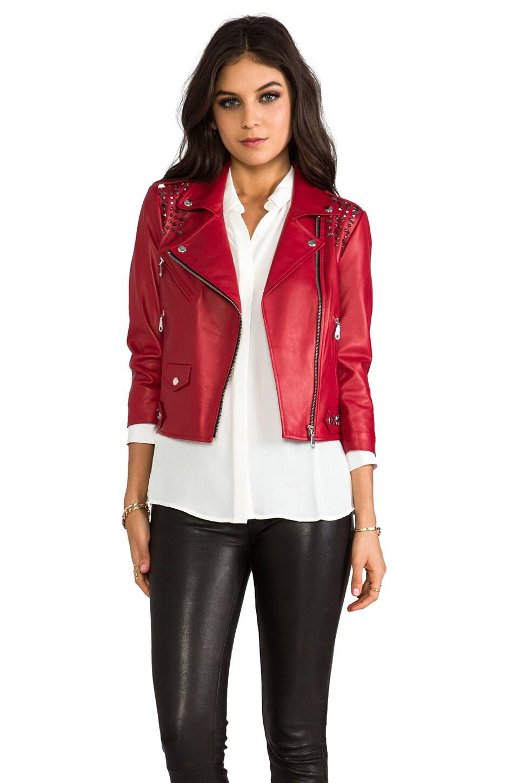 Rebecca Minkoff Embellished Wes Moto Jacket in Lipstick