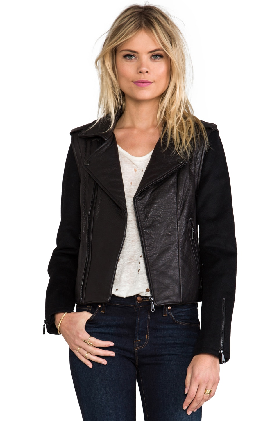 Rebecca Minkoff Wolf Zip Off Sleeve Moto Jacket in Black/Black