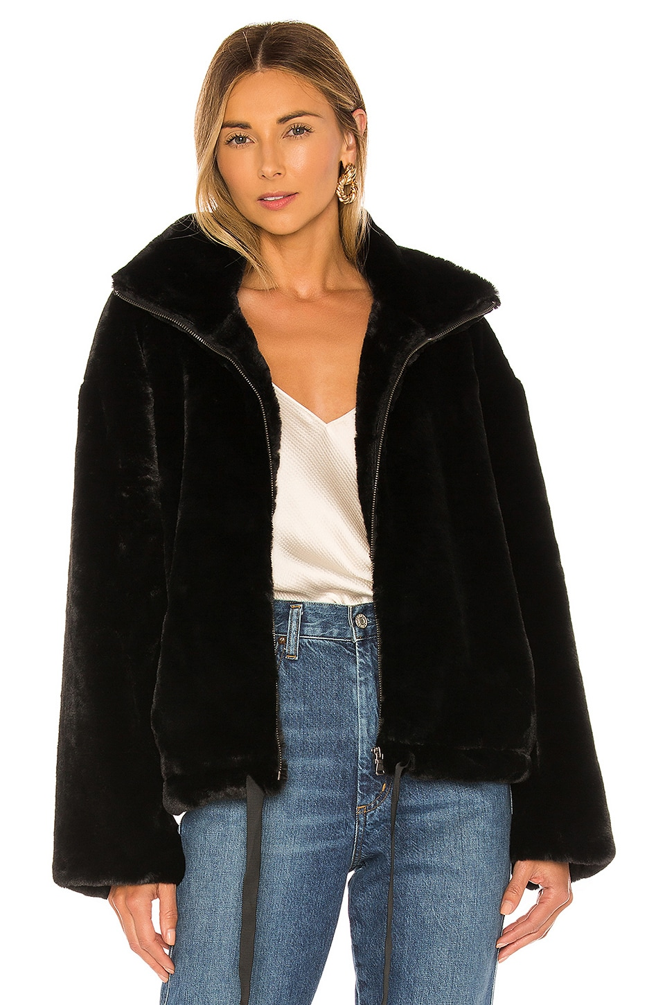 Rebecca Minkoff Faux Fur Brigit Jacket in Black