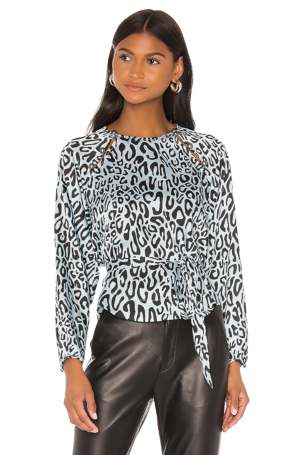 Rebecca Minkoff Angelina Blouse in Sky Blue Multi