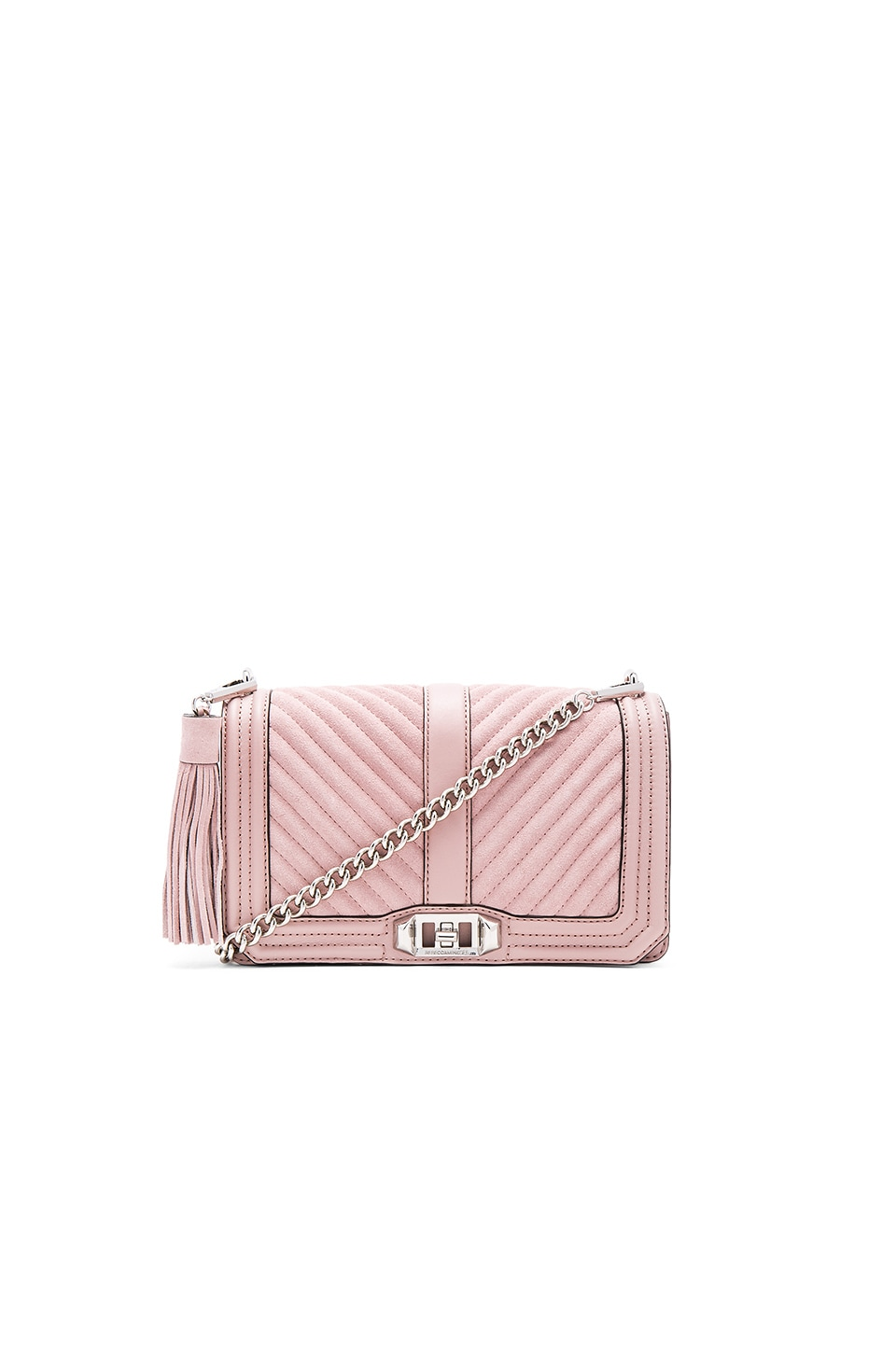 Rebecca Minkoff Chevron Quilted Love Crossbody Bag in Vintage Pink
