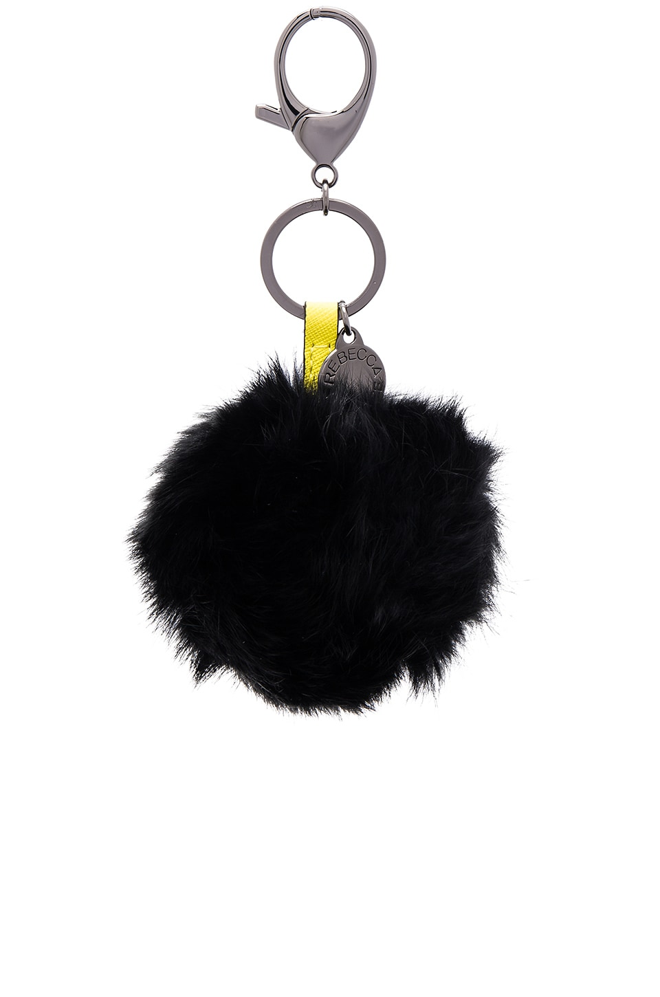 Rebecca Minkoff Rabbit Fur Pom Pom Key Chain in Black