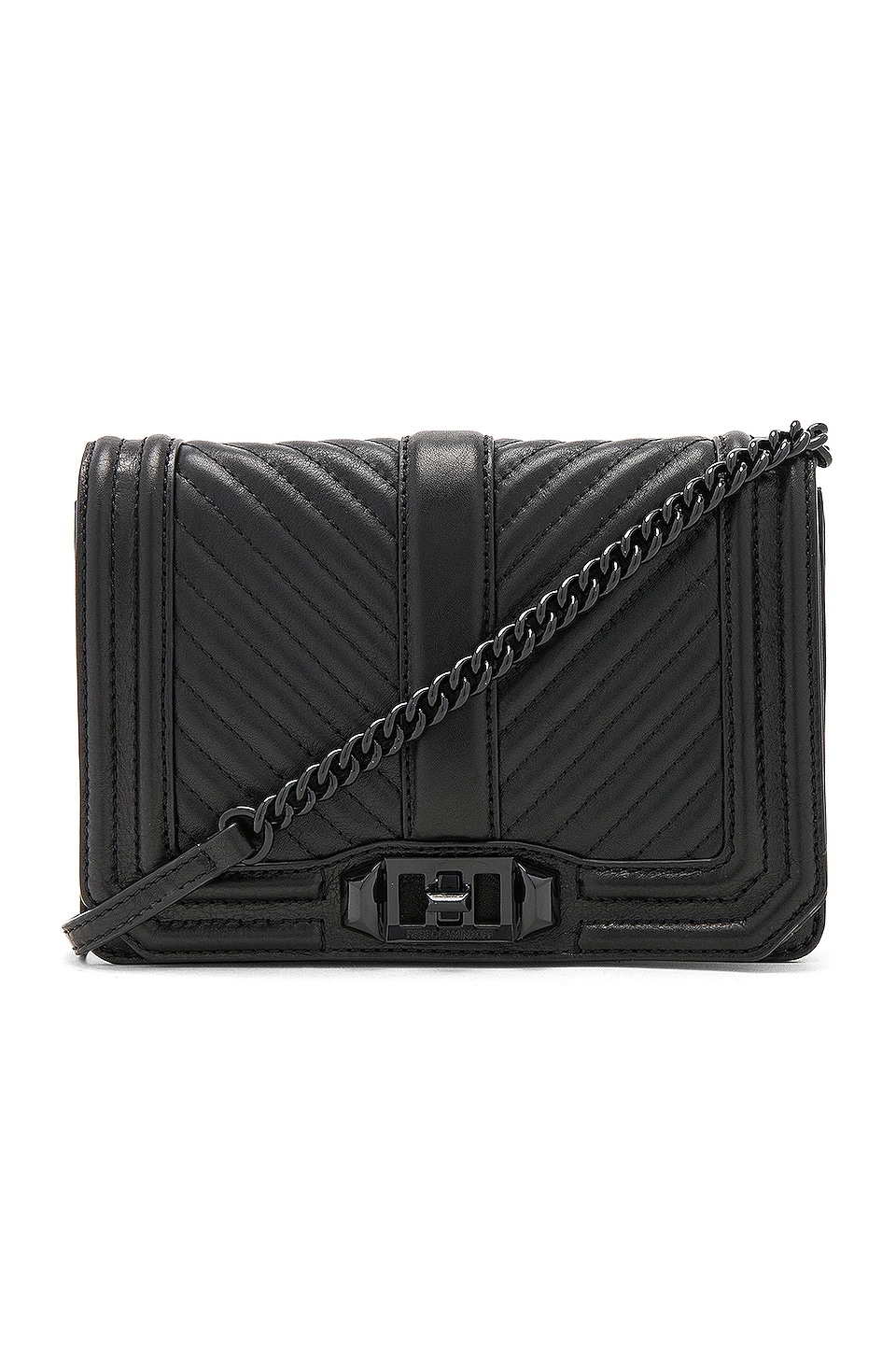 Rebecca Minkoff Chevron Quilted Small Love Crossbody Bag in Black