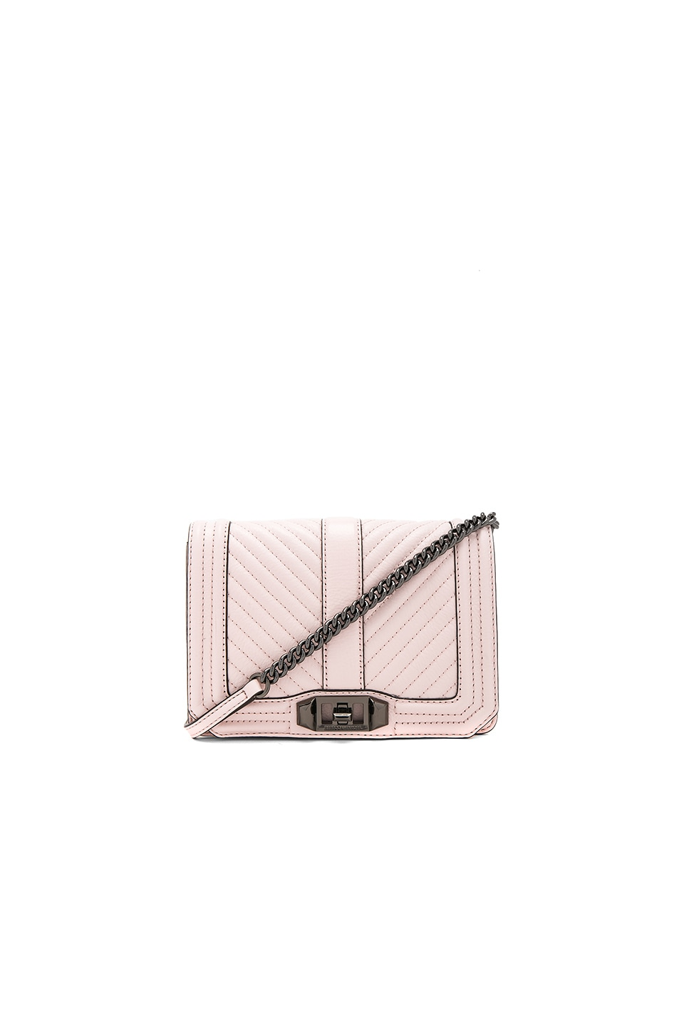 Rebecca Minkoff Chevron Quilted Small Love Crossbody Bag in Soft Blush