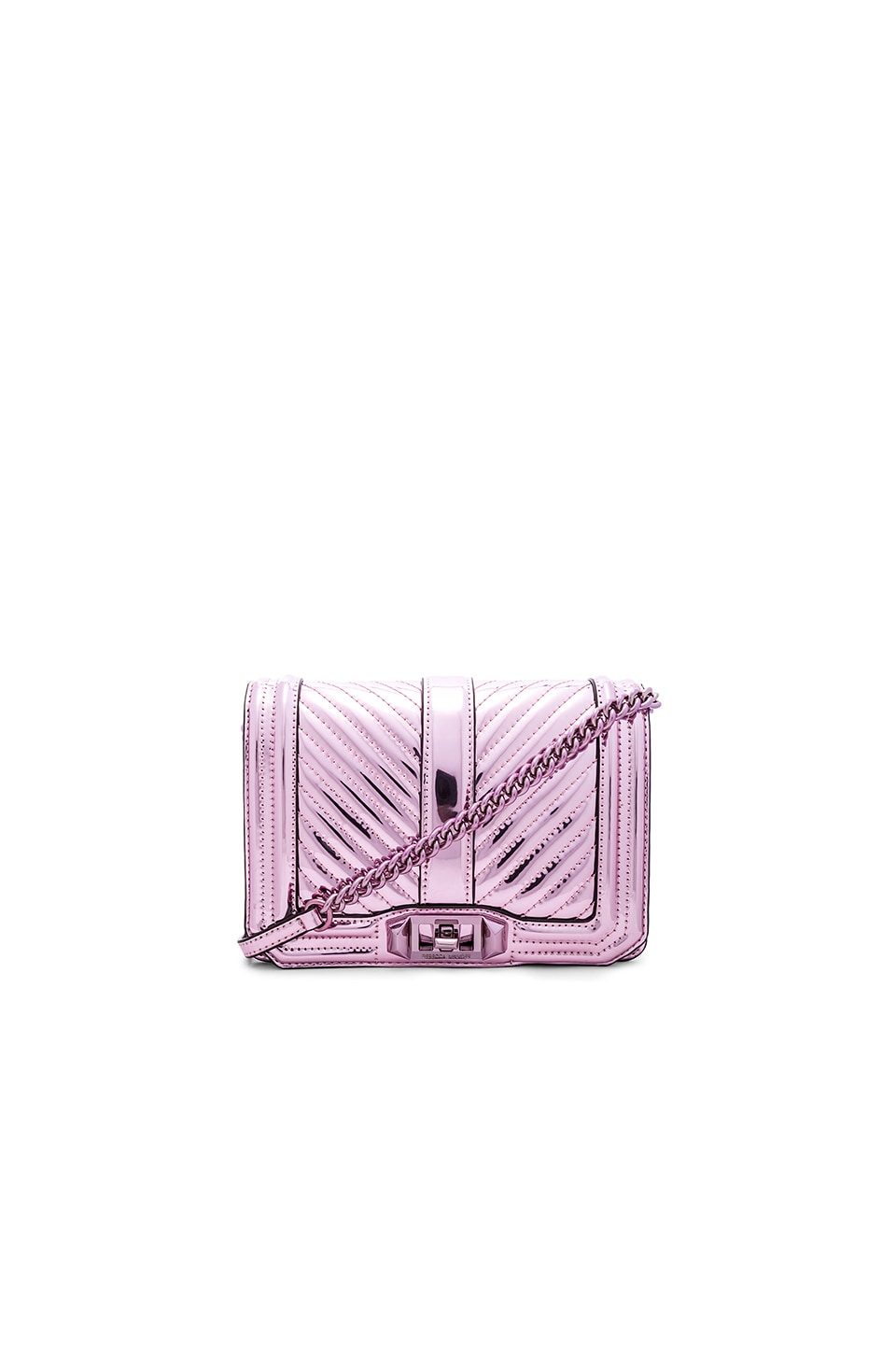 Rebecca Minkoff Chevron Quilted Small Love Crossbody Bag in Pink