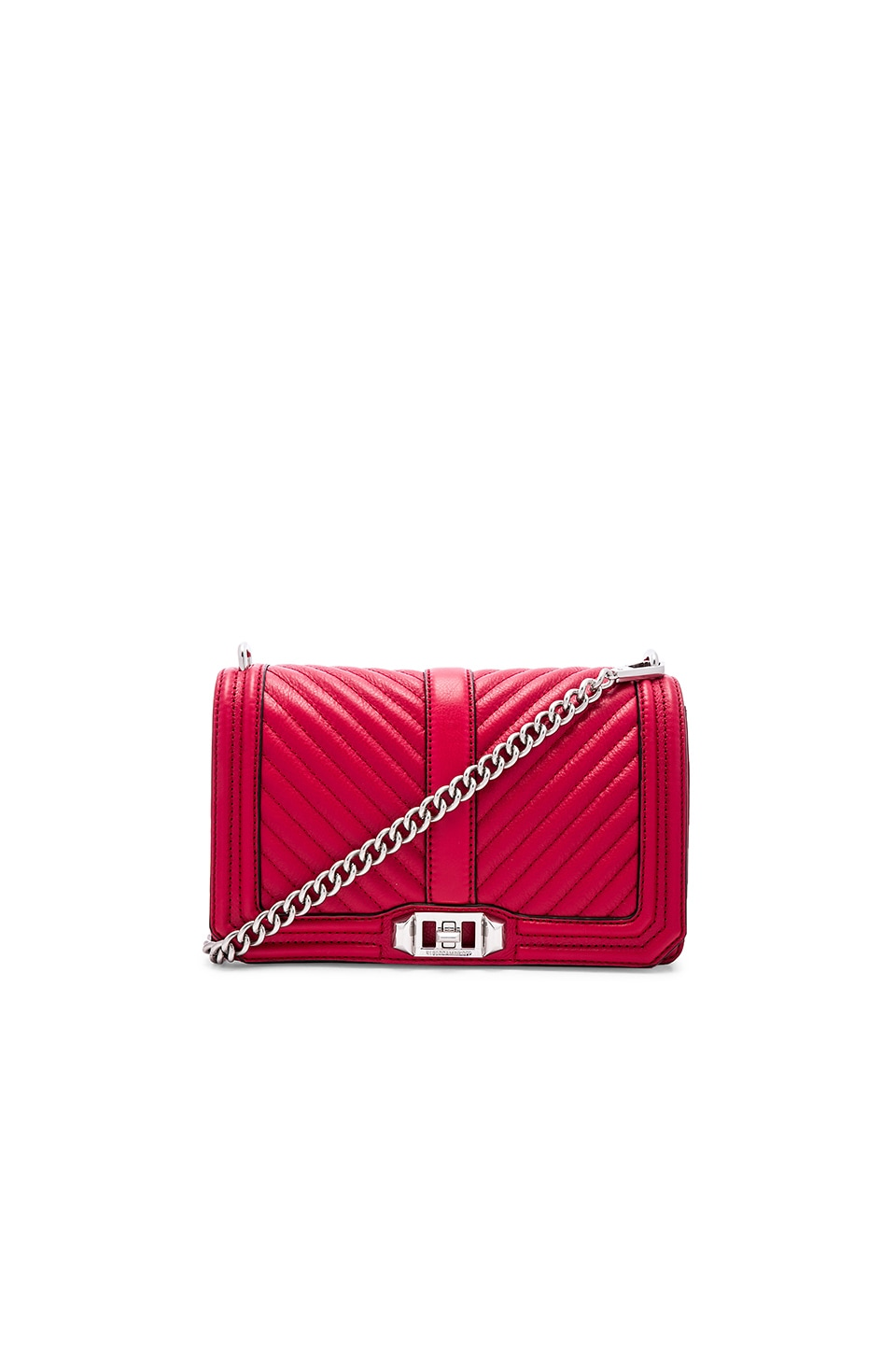 Rebecca Minkoff Chevron Quilted Love Crossbody Bag in Scarlet