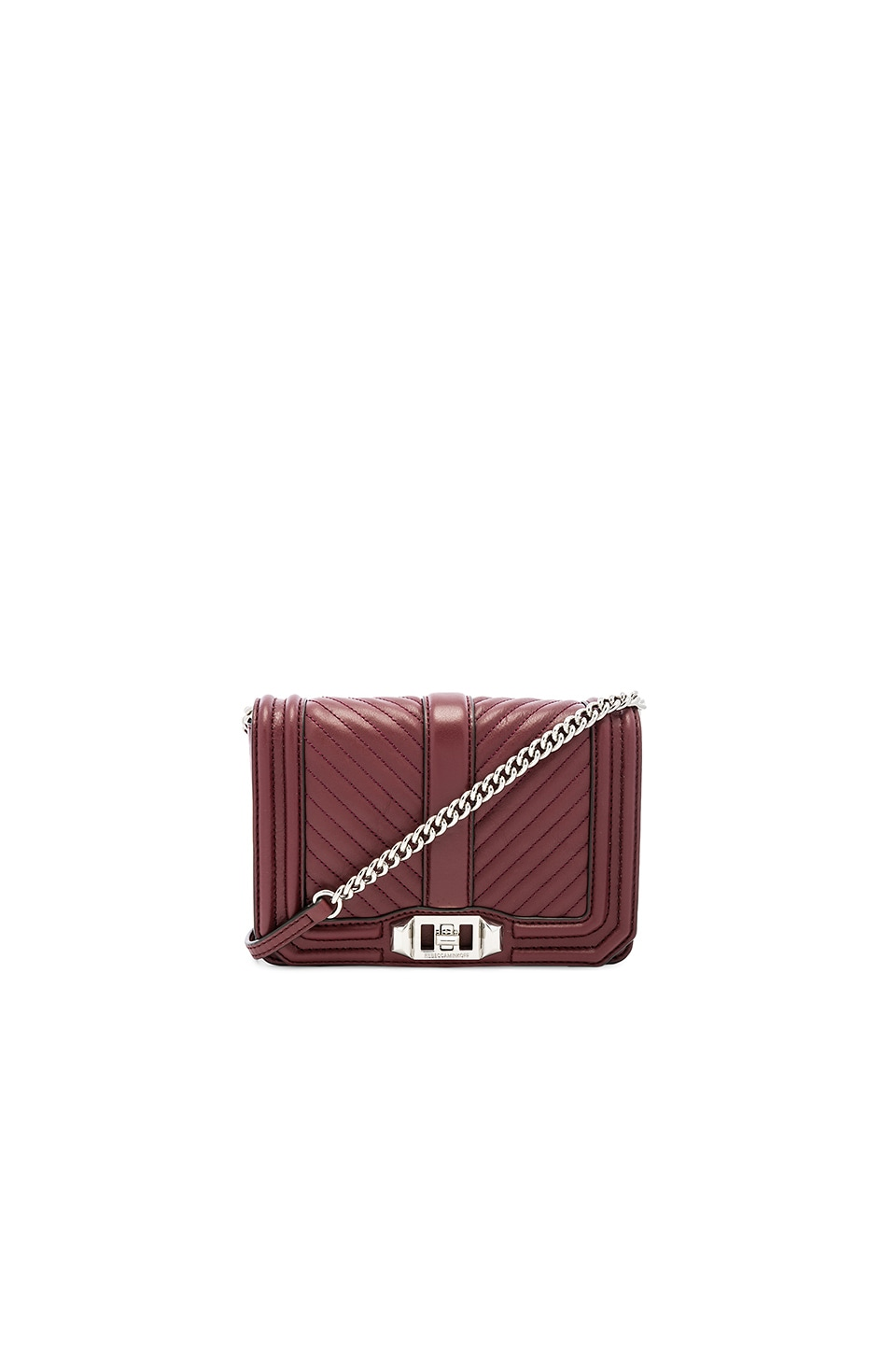 Rebecca Minkoff Chevron Quilted Small Love Bag in Bordeaux