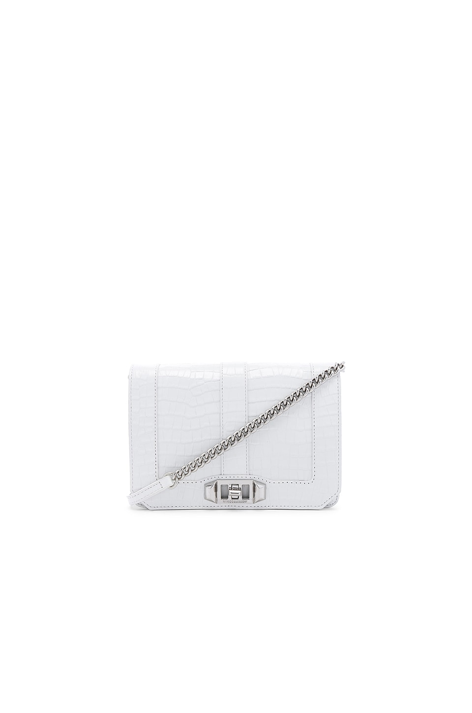 Rebecca Minkoff Croco Small Love Crossbody in Optic White