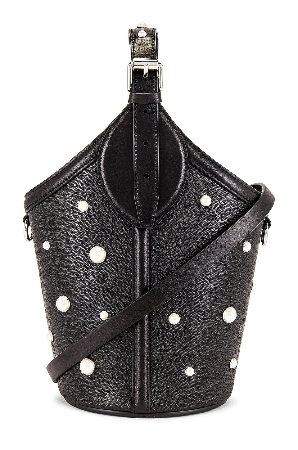 Rebecca Minkoff Pippa Top Handle with Pearl Studs Bag in Black