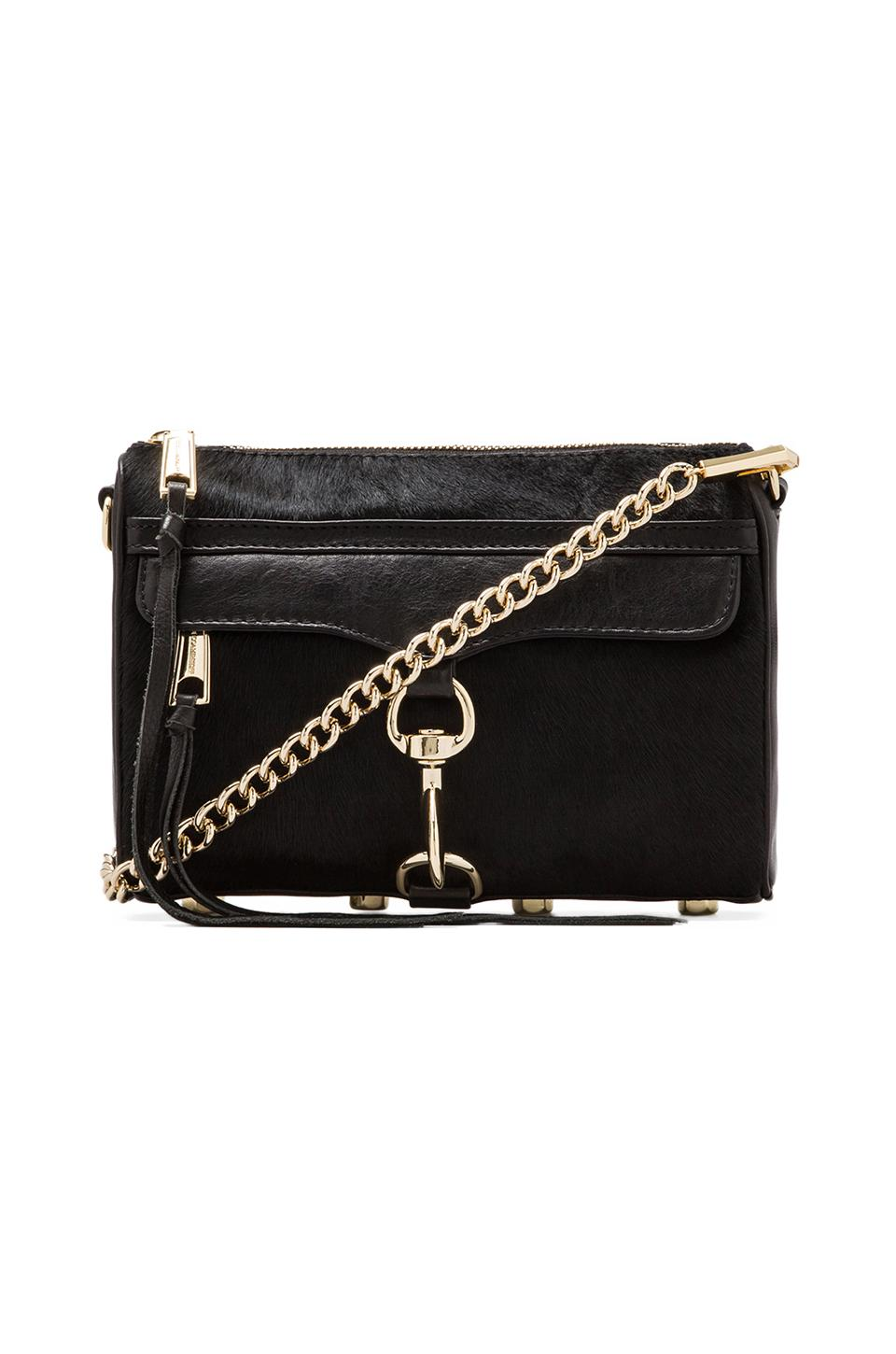 Rebecca Minkoff Haircalf Mini Mac in Black/Black