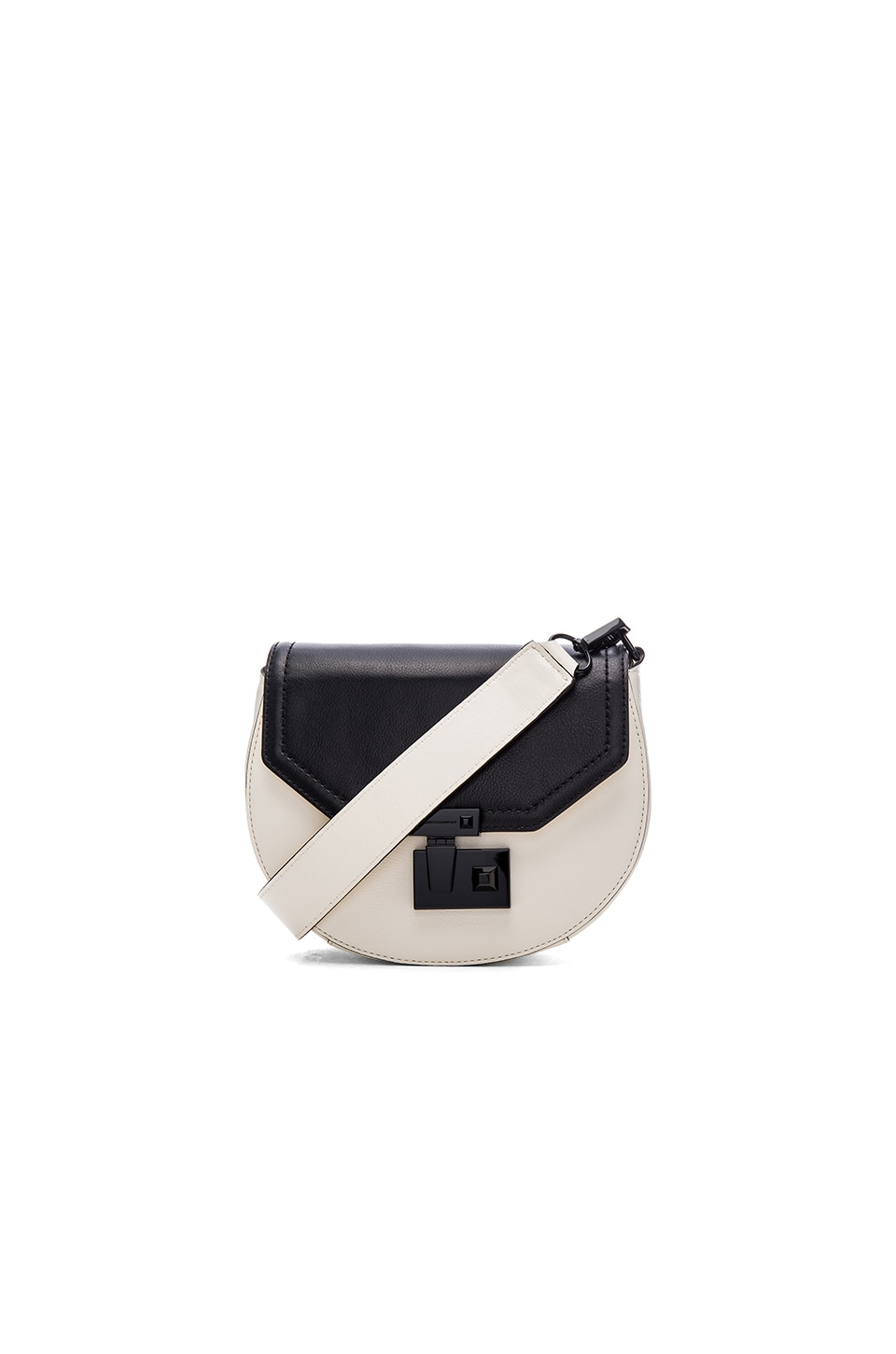 Rebecca Minkoff Medium Paris Saddle Bag in Black & Antique White