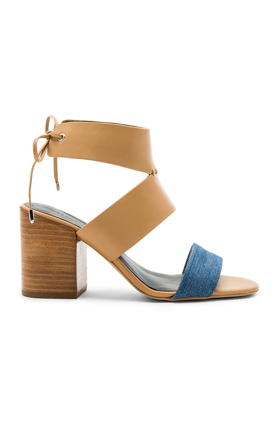 Rebecca Minkoff Christy Heel in Light Blue Denim & Natural Vachetta